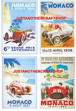 Monaco Grand Prix 1934 1936 1937 1957 Set of 4 Posters Adverts Signs  fantastic!