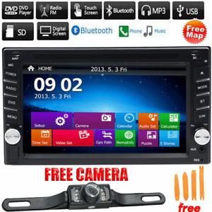 GPS Navigation Double 2Din Car Stereo DVD CD Player Bluetooth Auto Radio Camera