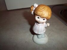 Ceramic Young Girl Figure Figurine w/Side Ponytail & Flowers Behind Her Back