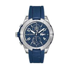 Lacoste Men's 47mm Chronograph Blue Silicone Stainless Steel Case Watch 2010761
