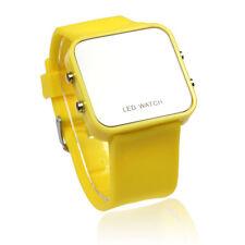 2017 nuevo LED Reloj Clásico 12 Mini Color Espejo Esfera Silicona Hombre Mujer