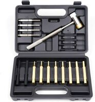 19Pcs Gunsmith Punch Set and Hammer with Brass, Hollow, Steel, Plastic Punches,