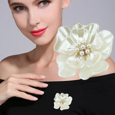 Bouquet Gold Flower Elegant Pearl Rhinestone Crystal Wedding Bridal Brooch Pin