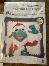 Vintage Kermit the Frog Santa Latch Hook Pillow Rug Kit 1980 Muppet Christmas
