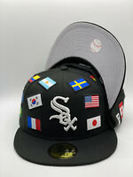 Chicago White Sox Black kNew Era All Over Flag 59FIFTY Fitted Hat Gray UV
