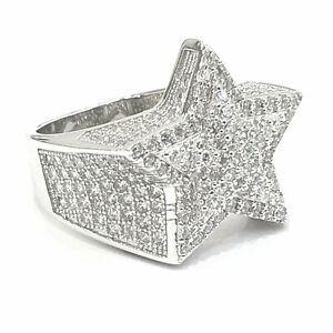 925 Sterling Silver White Gold Finish Bling Shiny C/Z Stone Men Star Pinky Ring