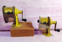 Vintage Apsco Midget Crank Pencil Sharpeners Yellow Lot of 2 Rockford IL USA