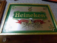 Heineken Wall Bar Mirror Sign Gold Holland Beer 19�x14�