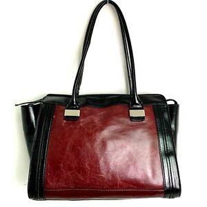 Giani Bernini BLACK DARK RED GENUINE LEATHER PVC TRIM TOTE SATCHEL SHOULDER BAG