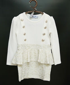 Girls Long-Sleeve Peplum White Dress with Double Button