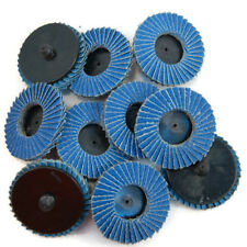 "10pc 2"" 60 Grit Flap Sanding Disc Wheels R Roloc Thread Twist Lock Grind Polish"