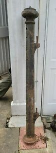 """Reclaimed Victorian Cast Iron Gate Post Fence Post 56"""" Cottage Rectory Manor TV"""