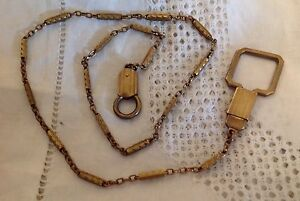 "Antique Vintage Gold Guilded Silver Hickok American 20"" Watch Chain Exceptional"