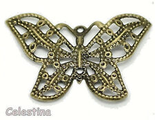 10 Butterfly Charms - Filigree Wraps Flexible Connectors - Bronze Tone 31mm