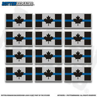 "Canada Thin Blue Line Flag 2"" Sticker Decal 12 Pack Support Police V3 ZU1"