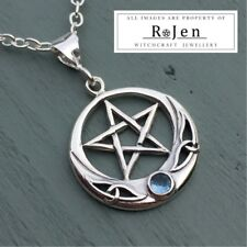 Solid 925 Sterling Silver Ornate Pentagram & Blue Cubic Zirconia Pendant Wicca