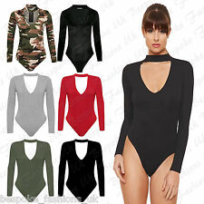 Ladies Women's Long Sleeve High Neck Choker Keyhole V-Neck Bodysuit Leotard Top