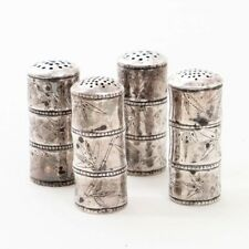 "Set of 4 Vintage Japanese Silver Salt & Pepper Shakers 2"" Tall Bamboo 68.8 grams"