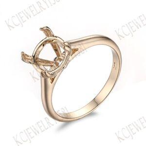 Solid 10K Yellow Gold Semi Mount 9mm Round Cut Fine Jewelry Wedding Ring Setting