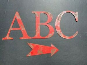 """Vintage Red Peeling Paint Rusty Metal  Large 12"""" Alphsabet Letters - A to Z"""
