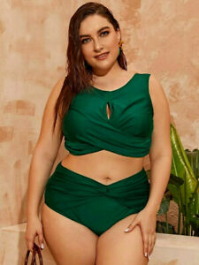 Plus Size Womens High Waist Bikini Swimsuit Tankini Swimwear Bathing Suit, Sz 14