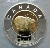 2010 CANADA TOONIE PROOF SILVER WITH GOLD PLATE TWO DOLLAR COIN
