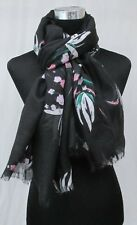LADIES MARKS AND SPENCER BLACK AND PINK MIX FLORAL DESIGN SCARF PASHMINA