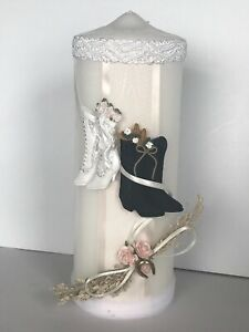 Victorian Boots Ivory Wedding Pillar Candle With Pink Roses and Horseshoe Charm