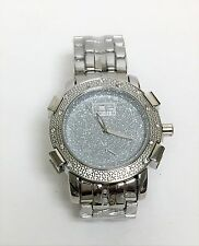 NEW ICE MASTER GLITZ SILVER TONE PAVE CRYSTAL BLING DIAL METAL WATCH