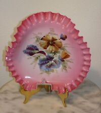 Victorian Art Glass Enamel Floral Decorated Brides Bowl Curled Thumbgrip