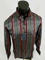 Mens Manzini Button Dress Shirt Black Red Blue Paisley Stripes French Cuff Links
