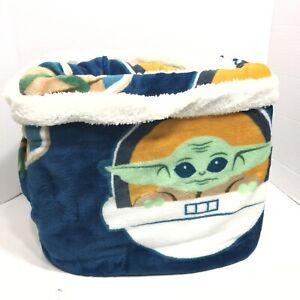 Yoda Star Wars Super Soft Sherpa Blanket Blue White 60in x 90in 152cm x 229cm