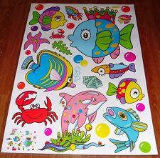 Nursery Enfants bébé Kid fille garçon poissons de mer Mur Sticker Autocollant Chambre de meubles