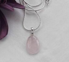 Handmade - Rose Quartz Gemstone Oval Pendant - Snake Chain Necklace - Gift Idea