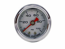 Liquid Filled Oil Pressure Gauge 0-100 psi - WHITE face -Harley Davidson