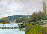 Oil painting Alfred Sisley - The Slopes of Bougival impressionism landscape 36""