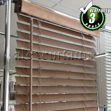 Wooden Venetian Blinds, Size: 60x210cm, 50mm Slat, Colour: Light Brown