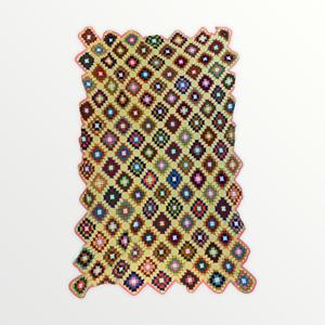 "Vintage Blanket Granny Squares Yellow Multicolor 75"" x 46"" Acrylic Crochet Throw"