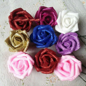 Glitter Foam Artificial Rose Flower Shiny Bouquet Wedding Party Decoration Gifts