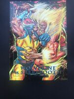 🔥Skybox 1992 Marvel Masterpieces Wolverine Vs. Sabretooth 3-D Foil Card Rare.