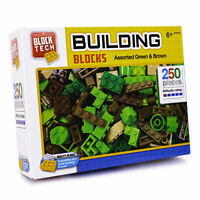 Block Tech Assorted Building Blocks Brick 250 Pieces Green and Brown Childs Toy