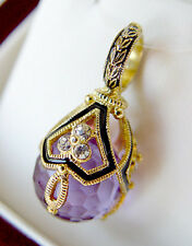SALE ! FABULOUS RUSSIAN EGG PENDANT STERLING 925 with AMETHYST