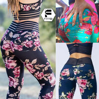 Women Yoga Pants Floral Printed High Waisted Gym Leggings Push Up Sports Fitness