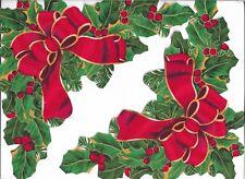 CHRISTMAS HOLLY & POINSETTIA CORNER FRAME~IRON-ON FABRIC MOTIF~NO SEW~SET OF 2