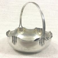 Antique French Art Nouveau Silver Plated Basket Bowl Dish Pretty Dainty Rustic