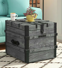 Antqiue Titan Solid Wood Trunk in Grey Finish Trunk Table Box Home Decor