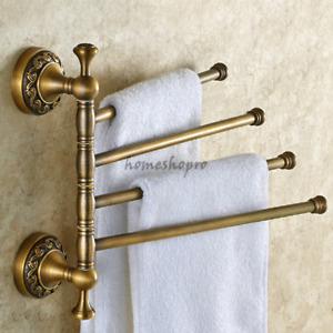 Antique Art Carved Rotating Towel Rail Bar Wall Mounted Bath Rack Holder Hanger