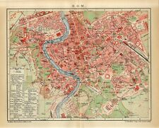 1905 ITALY ROME ROMA CITY PLAN Antique Map dated
