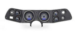 1970-81 Chevrolet Camaro Dakota Digital Carbon Fiber Blue VHX Analog Gauge Kit