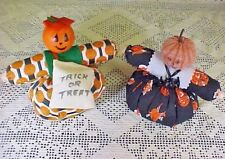 Halloween Dolls Roly Poly Pumpkin Heads Stuffed Fabric Weighted Bat Necklace Bag